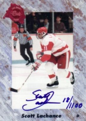 Scott Lachance certified autograph 1991 Classic card