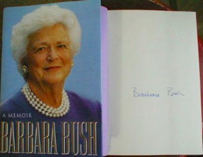 Barbara Bush autographed A Memoir first edition book