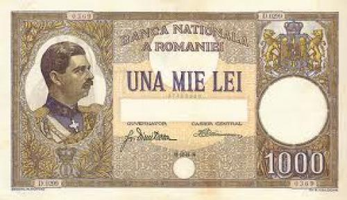 Banknotes; Romania - Carol II bank notes 1930s ; 1000 Lei