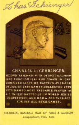 Charlie Gehringer autographed Baseball Hall of Fame plaque postcard