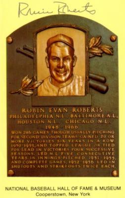 Robin Roberts autographed Baseball Hall of Fame plaque postcard