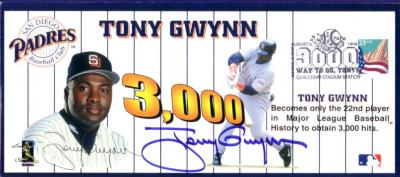 Tony Gwynn autographed San Diego Padres 3000 Hits cachet letter size envelope