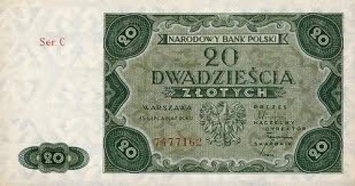 Poland paper money 20 Zlotych, 1947 issue