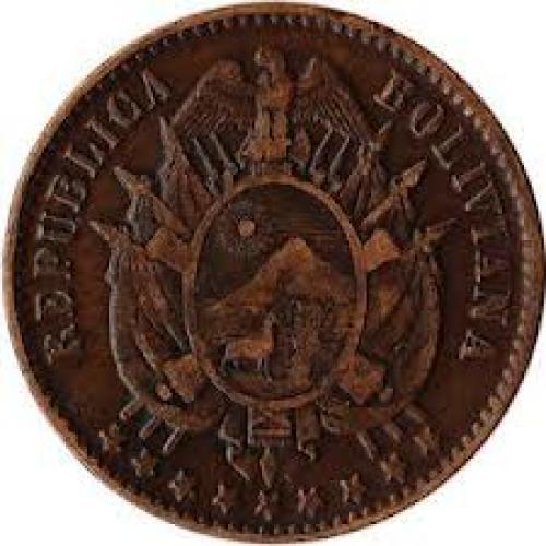 Coins; 1883 Bolivia 1 Centavo Coin KM#167