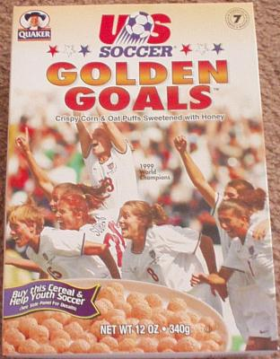 1999 U.S. Women's Soccer World Cup Champions Golden Goals cereal box (Mia Hamm Kristine Lilly)