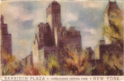 1945 Barbizon Plaza Hotel (Central Park New York) postcard