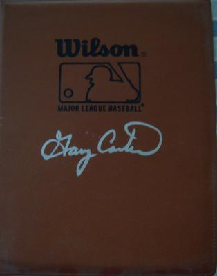 Gary Carter autographed MLB Wilson leather portfolio