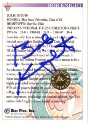 Bob Knight certified autograph Indiana Hoosiers 1992 Star Pics card