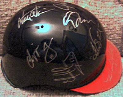1998 Atlanta Braves team autographed mini helmet Chipper Jones Greg Maddux John Smoltz