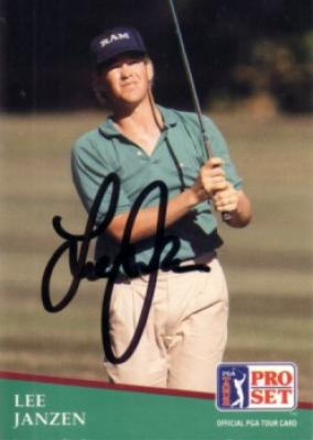 Lee Janzen autographed 1991 Pro Set golf card