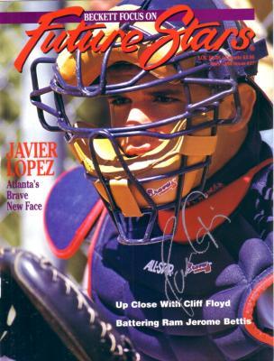 Javy Lopez autographed Atlanta Braves 1994 Beckett magazine cover