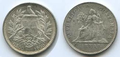 Coins; Guatemalan 1 real; 1900