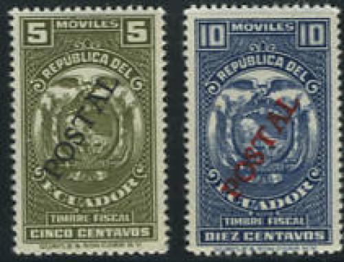POSTAL overprints 2v; Year: 1937