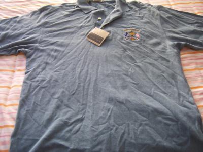 2002 Ryder Cup Cutter & Buck blue golf shirt MEDIUM NEW