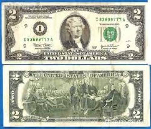 Banknotes; USA 2 Dollars 2003 Mint Minneapolis US Dollar Jefferson