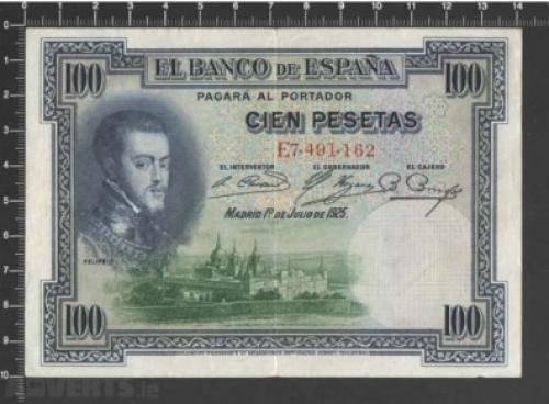 Spain -100 pesetas 1925
