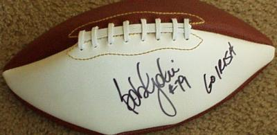 Bob Golic (Notre Dame) autographed full size white panel football