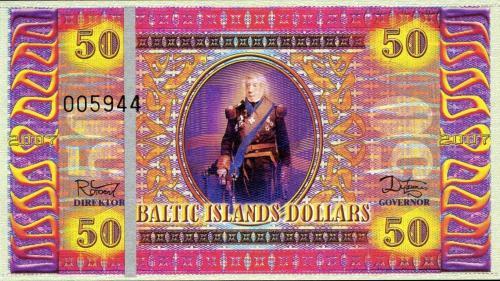 BALTIC ISLANDS 50 Dollars 2007 UNC FANTASY uncirculated note