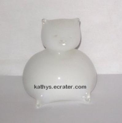 Hand Blown Glass White Sitting Fat Cat Animal Figurine