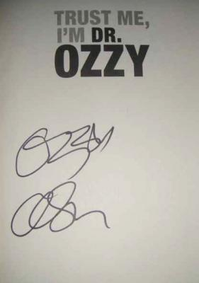 Ozzy Osbourne autographed Trust Me I'm Dr. Ozzy hardcover book