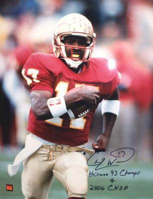 Charlie Ward autographed Florida State 16x20 poster size photo inscribed Heisman 93 Champs