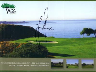 Justin Rose autographed Torrey Pines scorecard