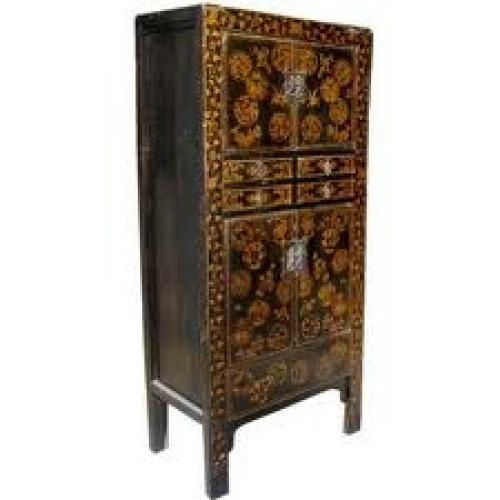Antiques;  Chinese Antique Black Laquered Cabinet w/ Hand