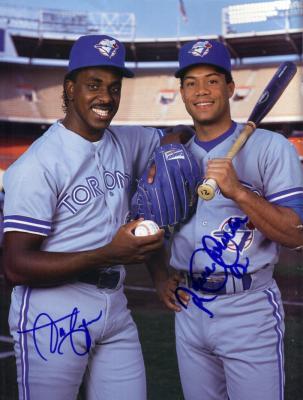 Roberto Alomar & Juan Guzman autographed Toronto Blue Jays Beckett back cover photo