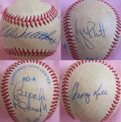 George Brett George Kell Eddie Mathews Brooks Robinson autographed AL baseball