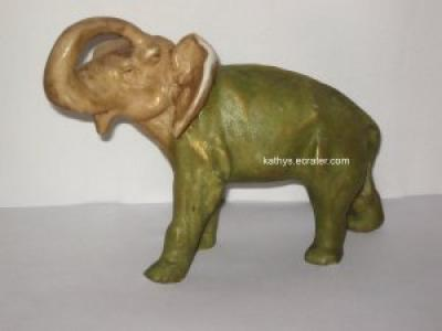 Ceramic Japan Elephant Brown/Green Animal Figurine