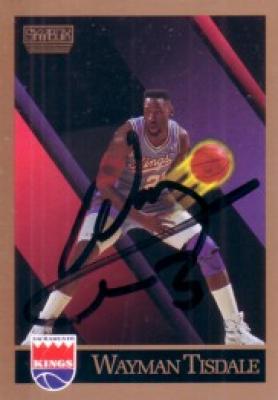 Wayman Tisdale autographed Sacramento Kings 1990-91 SkyBox card