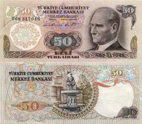 Banknotes; 50 Turkish Lira 1976 banknote
