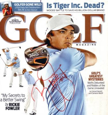 Rickie Fowler autographed Golf Magazine cover (trimmed)