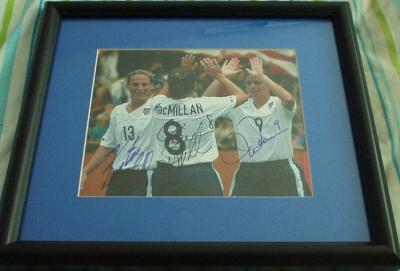 Mia Hamm Kristine Lilly Shannon MacMillan autographed US Soccer photo framed