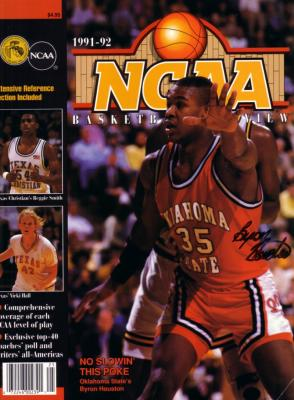Byron Houston autographed Oklahoma State 1991-92 NCAA Preview magazine cover