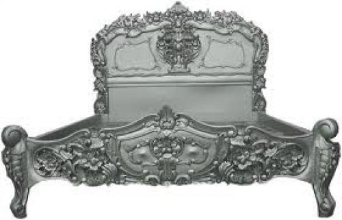 Antiques; Rococo French King Size Bed Antique Silver 5ft