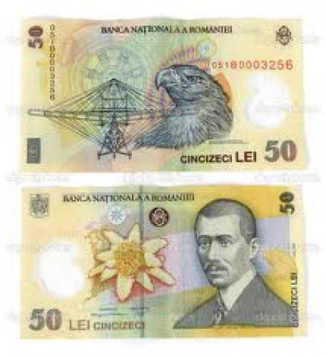 Banknotes; Front and back of the 50 lei banknote(romanian currency)