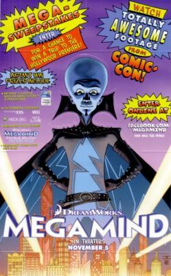 Megamind movie 2010 Comic-Con 5x8 popup promo card