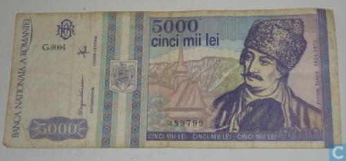 Romania 5000 Lei-1993,