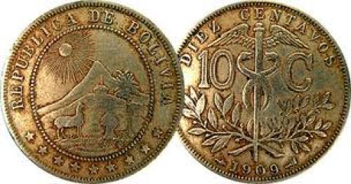 Coins; Bolivia 10 Centavos 1893 to 1936
