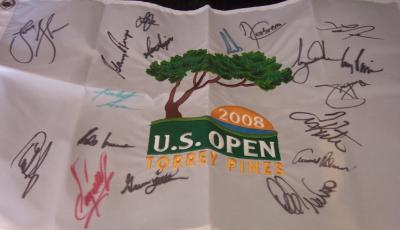 2008 US Open golf flag autographed by 18 winners (Tiger Woods Arnold Palmer Gary Player Lee Trevino)