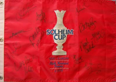 2009 U.S. Solheim Cup Team autographed embroidered flag (Paula Creamer Natalie Gulbis Michelle Wie)