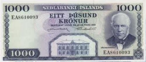 Bank Notes, Iceland. 1000 Kronur (1961-86)