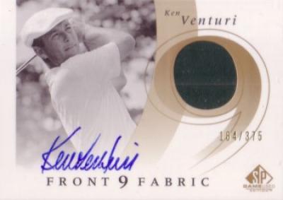 Ken Venturi certified autograph golf card with worn shirt swatch