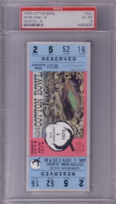 1979 Cotton Bowl full unused ticket graded PSA 6 (Joe Montana Notre Dame Chicken Soup Game)
