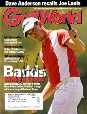 Aaron Baddeley autographed 2006 Golf World magazine