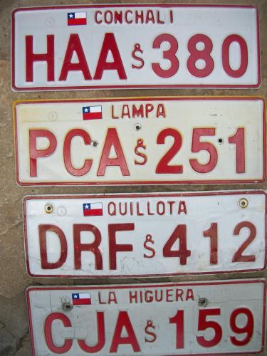 Chile License Plates