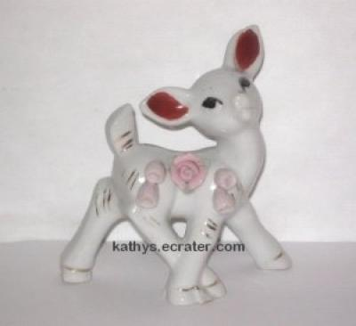 Vintage White w/Pink Roses Fawn Deer Animal Figurine