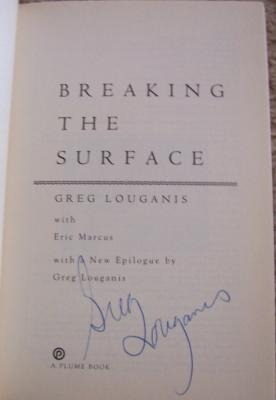 Greg Louganis (diving) autographed Breaking the Surface softcover book