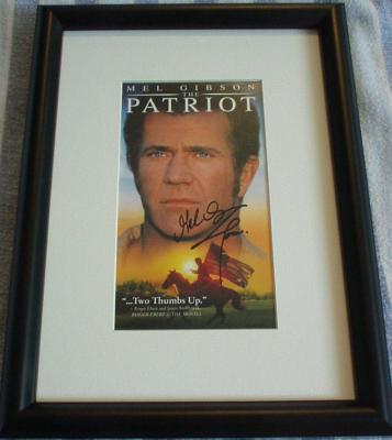 Mel Gibson autographed The Patriot video box cover matted & framed